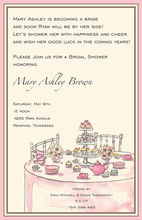 Tea Table Party Many Cakes Invitation