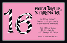 Zebra Sweet 16 Invitations