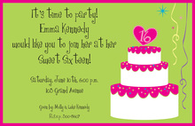 Cake Sweet 16 Birthday Invitation