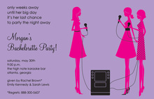 Karaoke Pink Silhouette Girls Invitation