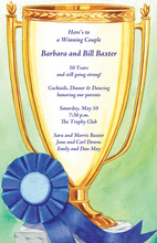 Blue Ribbon Winning Golden Trophy Invitations