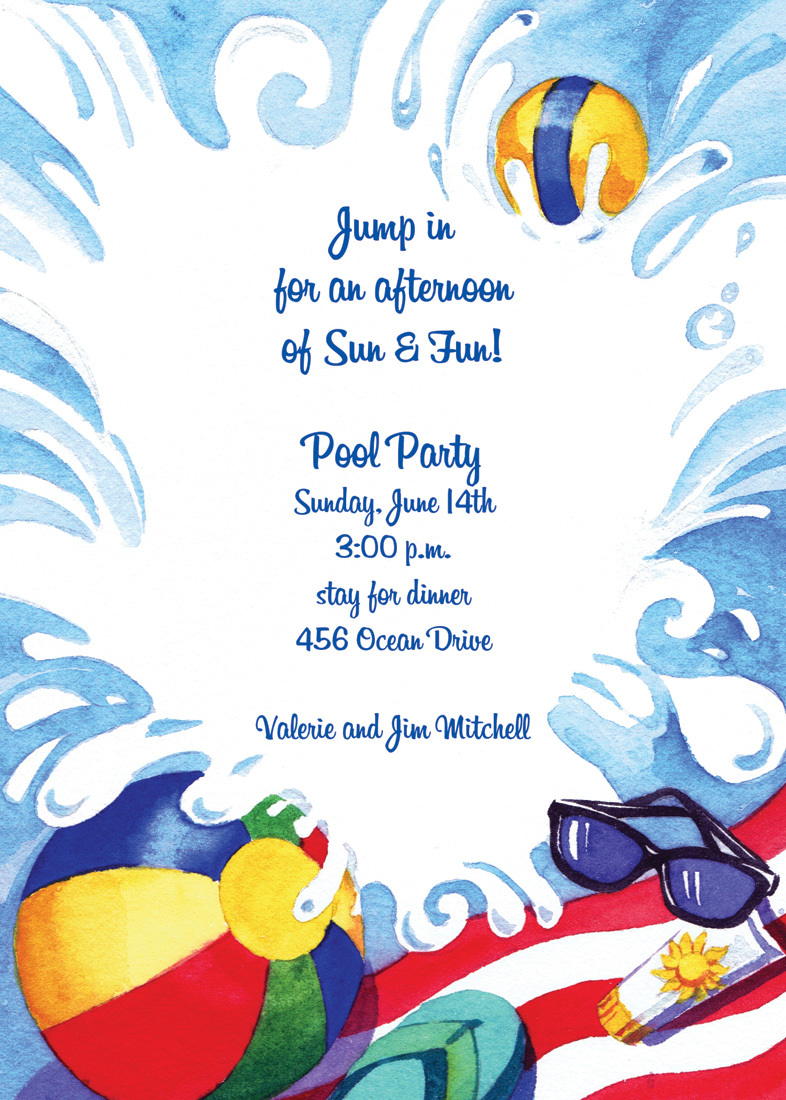 Splashing Pool Party Invitation