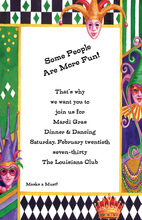 Mardi Gras Mask Peeking Jokers Invitation