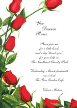 Red Rose Blooms Assortment Invitations