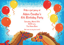 Playful Pony Ride Birthday Invitations