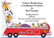 Playful Fireman Fire-Truck Invitations