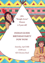 Native American Indian Guide Invitation