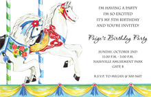 Children Playground Carousel Pony Invitations