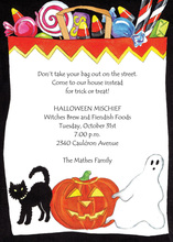 Halloween Treats In White Bag Invitation