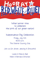 Holiday Patriotic Red White Blue Invitation