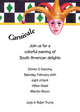 Joker Mask Carnivale Invitation