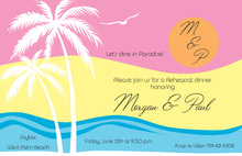 Tropical Sunset Beach Silhouette Invitations