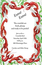 Red Crawfish Peel Border Invitation