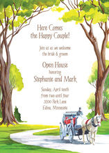 Horse Carriage In Forest Landscape Invitation