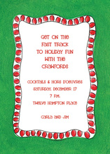 Red Christmas Lights Border Invitation
