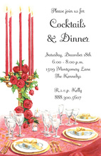 Formal Red Roses Holiday Setting Invitations