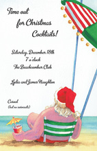 Relaxing Beach Santa Invitations
