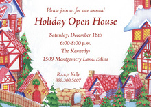 Holiday Village Winter Scene Invitations