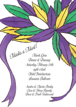 Colorful Masquerade Feathered Mask Invitation