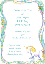 Fantasy White Unicorn Fairytale Invitation