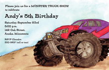 Big Wheels Giant Monster Truck Invitations