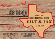 Texas Map Western BBQ Invitations