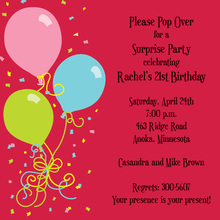 Balloons Red Square Invitations