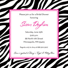 Wild Zebra Border Square Invitation