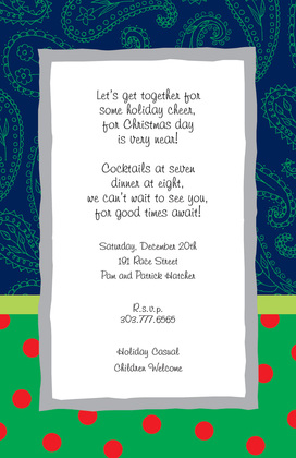 Glorious Brown Paisley Polka Dot Invite