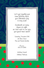 Navy Paisley Polka Dot Invitations