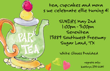 Watercolor Tea Party Green Invitations