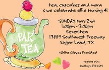 Watercolor Tea Party Orange Invitations