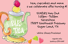 Watercolor Tea Party Pink Invitations