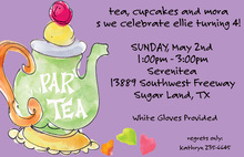 Watercolor Tea Party Purple Invitations
