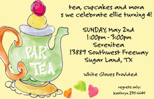 Watercolor Tea Party Yellow Invitations