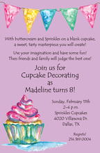 Watercolor Cupcake Lavender Invitations