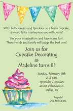 Watercolor Cupcake Mint Invitations