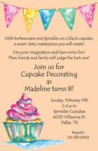 Watercolor Cupcake Orange Invitations