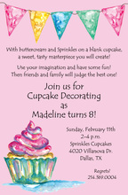 Watercolor Cupcake Pink Invitations