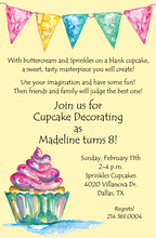 Watercolor Cupcake Yellow Invitations
