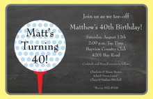 Polka Dots Golf Chalkboard Invitations