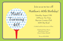 Polka Dots Golf Sky Yellow Invitations