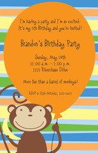Orange Balloon Monkey Party Invitations