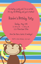 Pink Balloon Monkey Party Invitations
