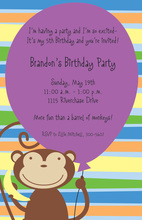 Purple Balloon Monkey Party Invitations