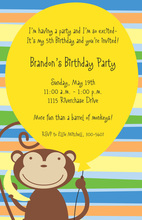 Yellow Balloon Monkey Invitations