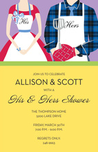 Grilling Couple Apron Invitations