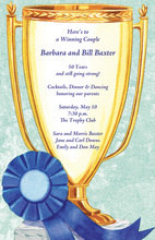 Winning Golden Trophy Aqua Invitations