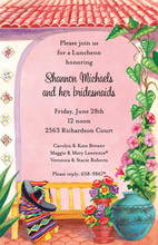 Garden Bench Pink Mexican Invitations