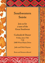 Orange Southwestern Paisley Trim Invitation